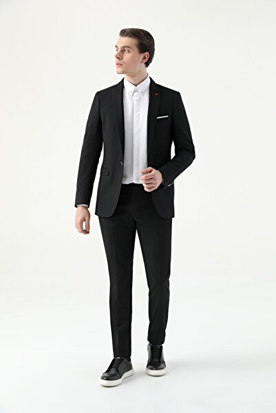 D'S Damat Erkek Siyah Twn Slim Fit Armürlü Takım Elbise