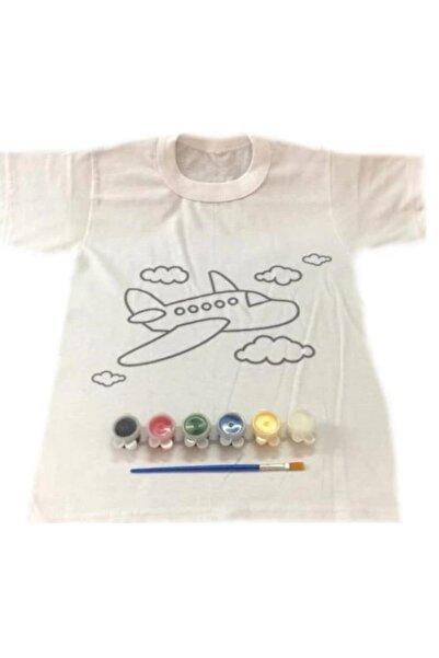 Joy and Toys Uçak Desenli T-shirt Boyama Seti 6-7 Yaş Çocuk Aktivite