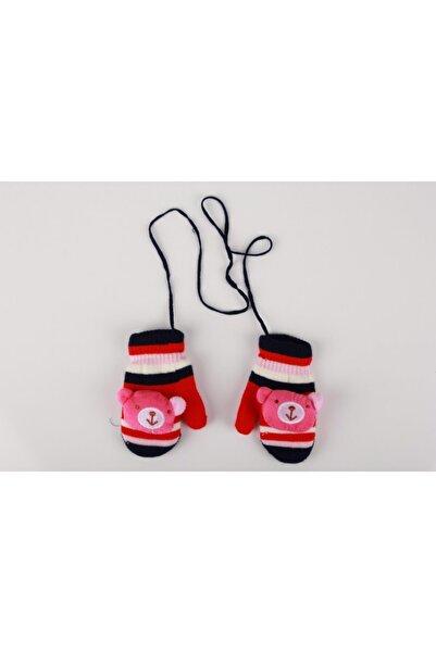 SeaBubbles Kız Bebek Kırmızı Pembe Çizgili Ayı Oyuncaklı Örme Eldiven