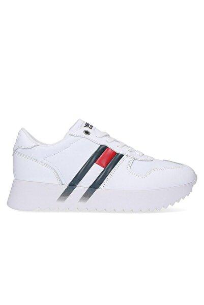 Tommy Hilfiger Kadın Beyaz Hıgh Cleated Corporate Sneaker