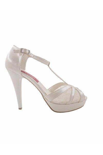 Gess Sedef Beyaz Ince Topuklu Platformlu Gelinlik Ayakkabısı