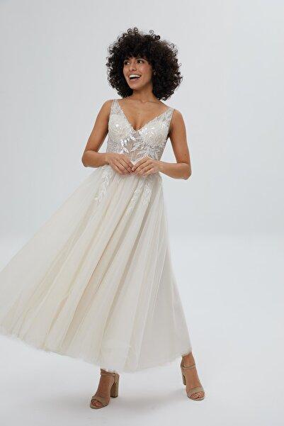 Şebnem Sönmez Magic Dresses Tül Etekli A Line Midi Gelinlik/after Party Elbisesi