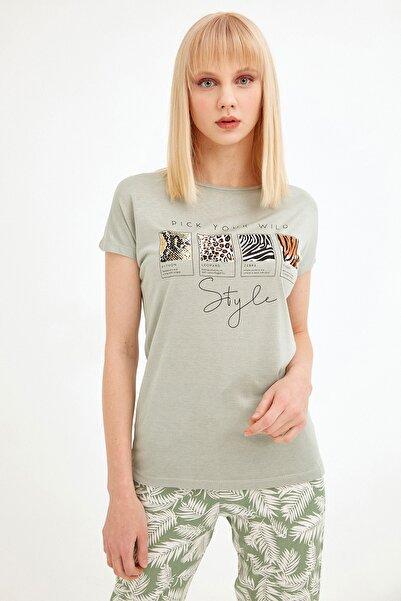 Fulla Moda Kadın Su Yeşili Baskılı Tshirt