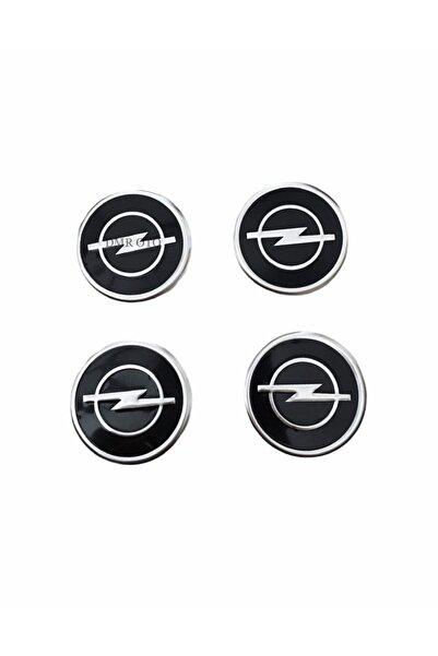 DMR Opel Siyah Logolu Alüminyum Jant Göbeği Logo 4'lü Yapıştırma 5,5 Cm