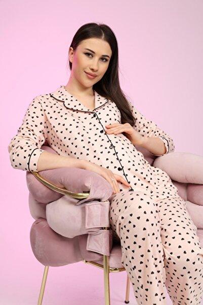 LİKAPA Penye Önden Düğmeli Hamile Lohusa Uzun Kol Pijama Takımı