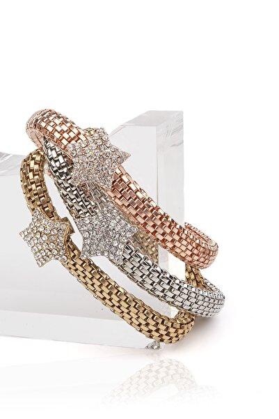 Marjin Kadın Taşlı Üçlü Altın&platin&rose Renkli Bileklikmulti