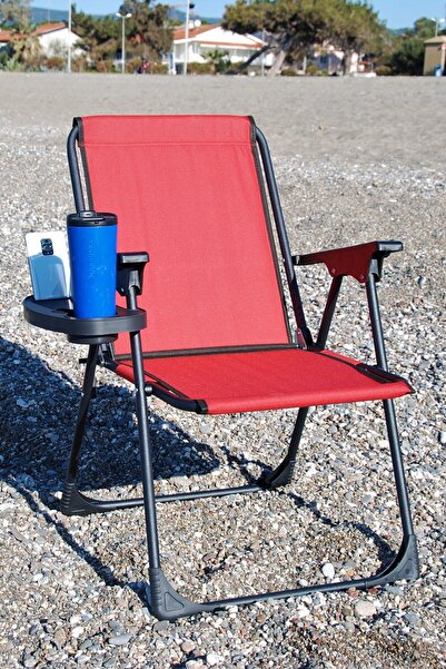 moniev Kırmızı Bardaklı Katlanır Kamp Piknik Sandalyesi