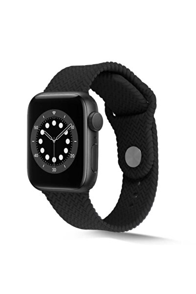 zore Apple Watch 44mm Krd-37 Silikon Kordon Siyah