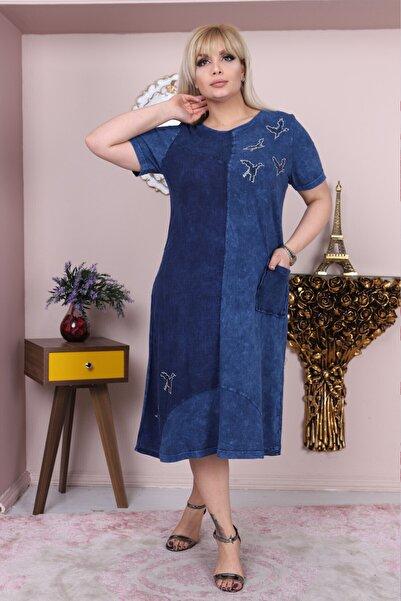 Heves Giyim Büyük Beden Yıkamalı Kumaş Kısa Kollu Mavi Elbise