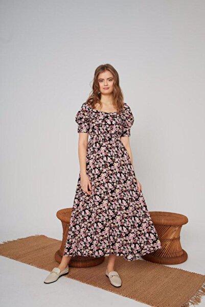 Mixray Beli Lastikli Çiçek Desenli Elbise