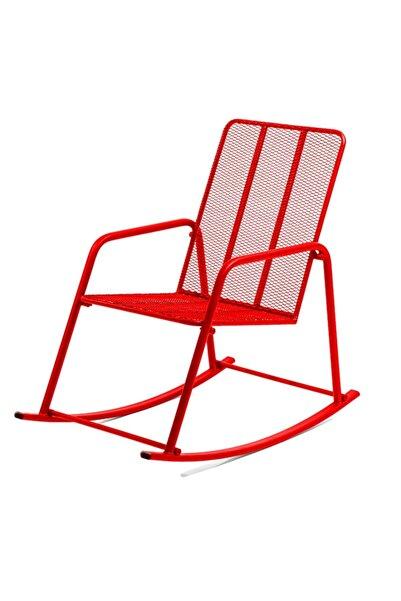 Retodesign Kırmızı Metal Sallanan Sandalye