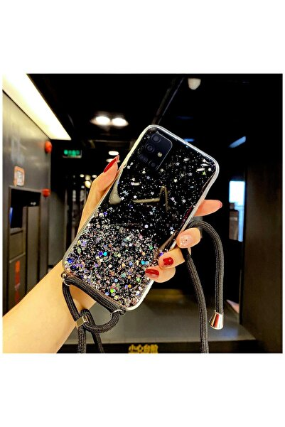 Dara Aksesuar Samsung Galaxy A71 Kılıf Zebana Simli Askılı Silikon Kılıf Siyah