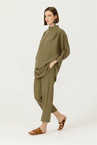 SEÇİL Kadın Yeşil Dik Yakalı Rahat Kesim Tunik 4436
