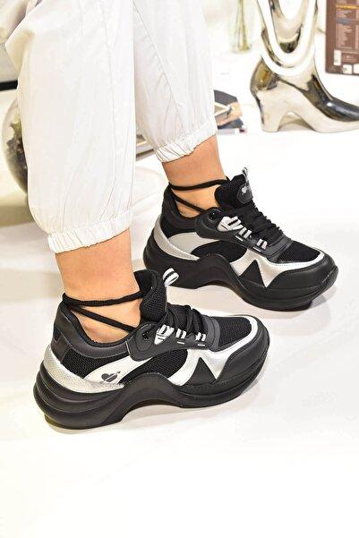 Twingo Kadın Siyah Gümüş Spor Ayakkabı