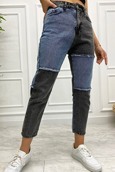Eka 0531-7892 Çift Renkli Parçalı Yüksek Bel Kot Pantolon