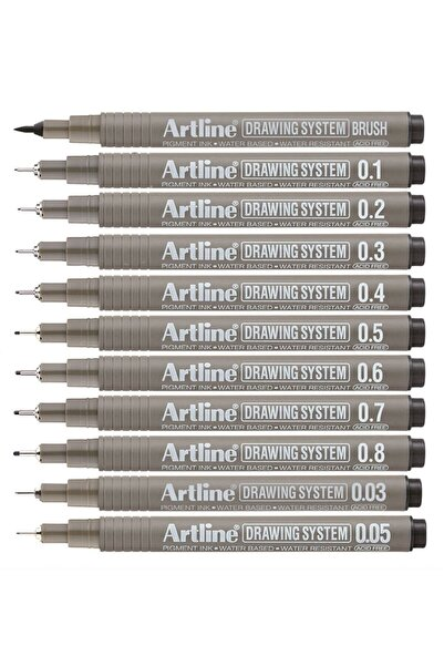 artline Drawing System Teknik Çizim Kalemi 11'li Tam Set
