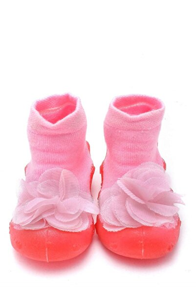 First Step Pembe Çiçekli Altı Kaymaz Silikon Çocuk Panduf Ayakkabı C-26-1