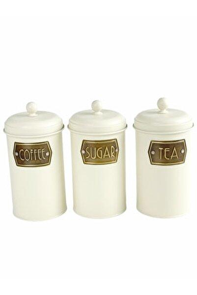 Çay Şeker Kahve Kavanozu - Açık Krem