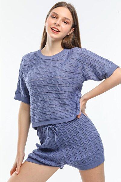 LETOON Kadın Mavi Yazlık Triko Takım Trk02