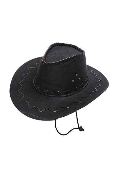 Tezzgelsin Unisex Siyah Nubuk Kovboy Şapkası