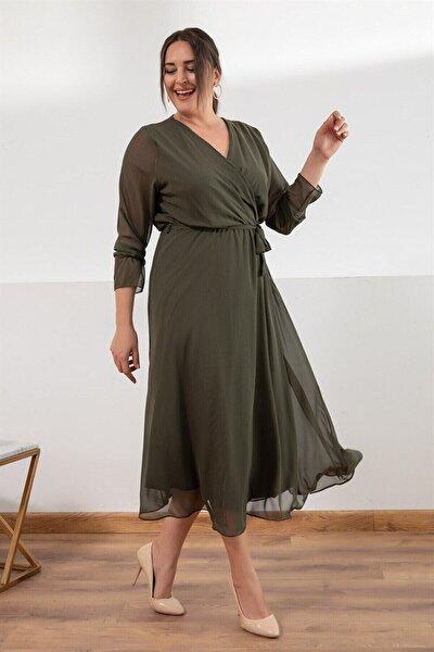 Melisita Kadın Haki Platina Büyük Beden Elbise
