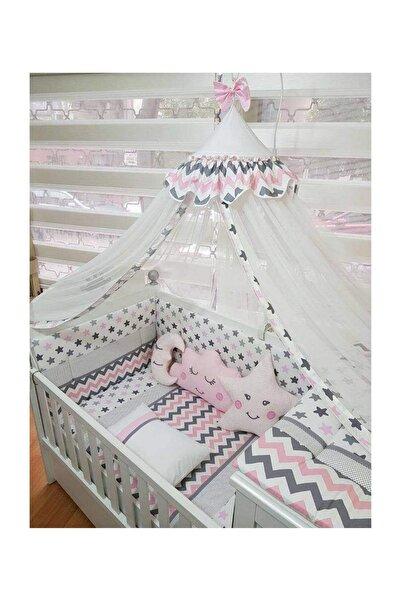 ABC Bebek Gri Pembe Çizgili Uyku Seti 70 *130 cm