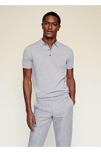 MANGO Man Erkek Gri Pamuk Keten Karışımlı Polo Gömlek