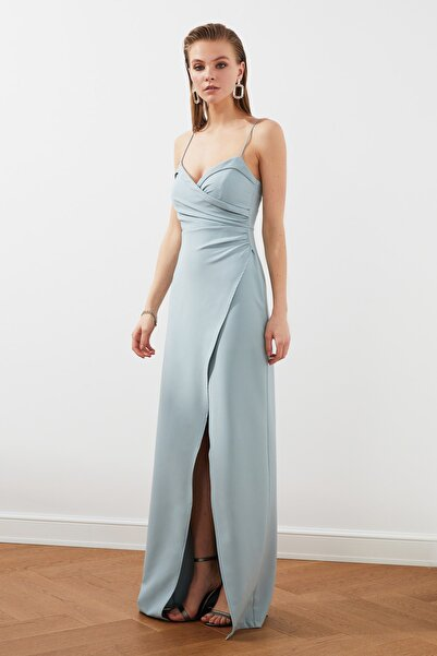TRENDYOLMİLLA Gri-Mint Yaka Detaylı Abiye & Mezuniyet Elbisesi TPRSS21AE0045