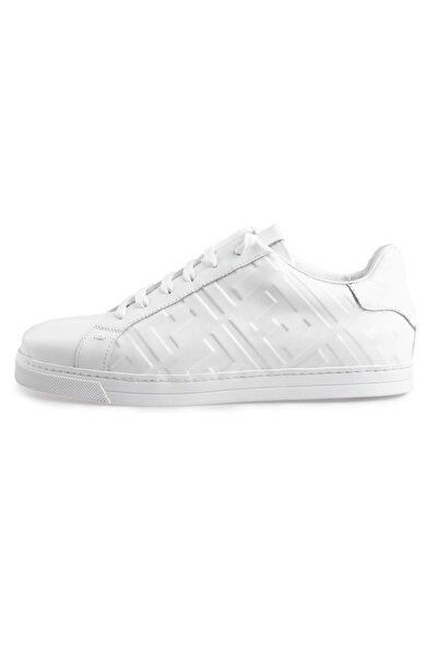 Flower Erkek Beyaz Deri Baskılı  Sneakers