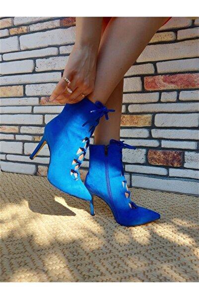 Trendypazar Barbra Sax Süet Stiletto Topuklu Ayakkabı