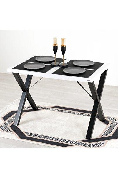 Mars Mobilya Woody Metal Ayaklı Beyaz Mutfak Masası