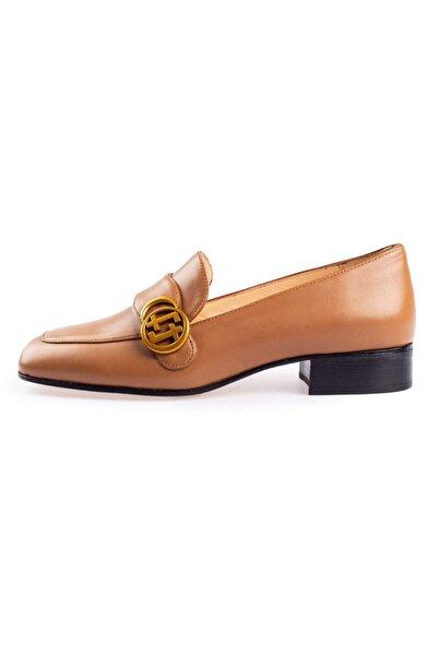 Flower Kadın Kahverengi Taba Deri Ff Tokalı Ayakkabı