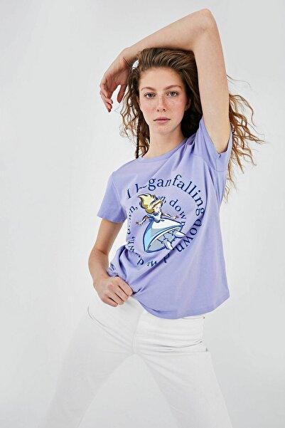 LC Waikiki Kadın Mat Lila T-Shirt XSIDE Koleksiyonu