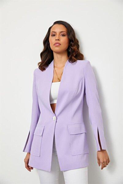 Setre Kadın Lila Kolları Yırtmaçlı Ceket