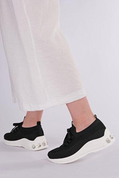 Marjin Rivaz Kadın Dolgu Topuk Çorap Sneaker Spor Ayakkabısiyah
