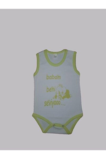 Karaca Unisex Bebek Yeşil Yazılı Baskılı Zıbın