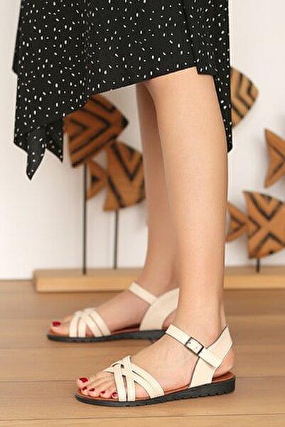 Kadın Krem Sandalet