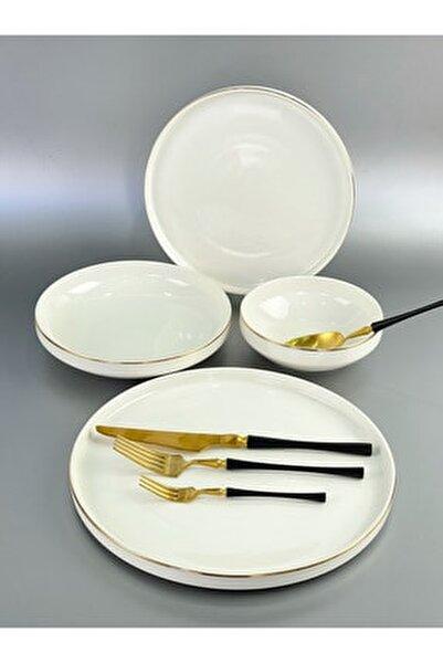 Modern Gold 48 Parça Lüx Porselen Yemek Tk 12 Kişilik