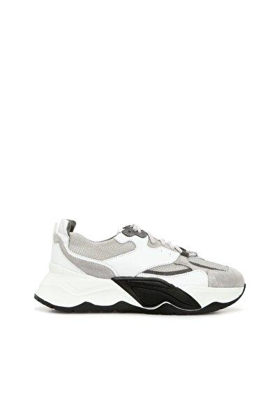 George Hogg Kadın Süet Sneaker Gri Beyaz