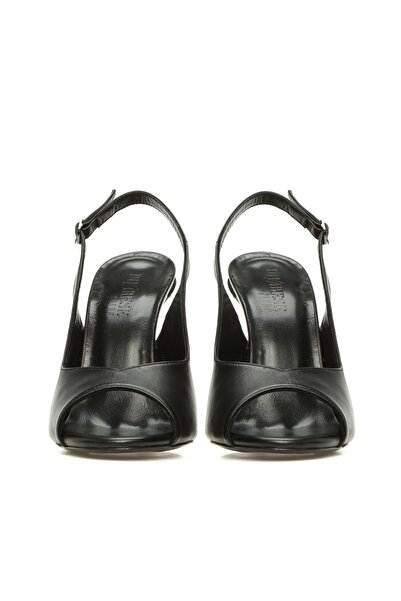 Dıvarese Kadın Siyah Deri Sandalet