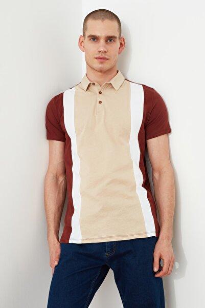 TRENDYOL MAN Bej Erkek Slim Fit Renk Bloklu Kısa Kollu Polo Yaka T-shirt TMNSS21PO0065