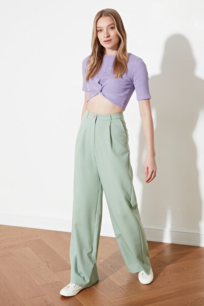 TRENDYOLMİLLA Mint Pileli Geniş Paça Pantolon TWOSS20PL0010