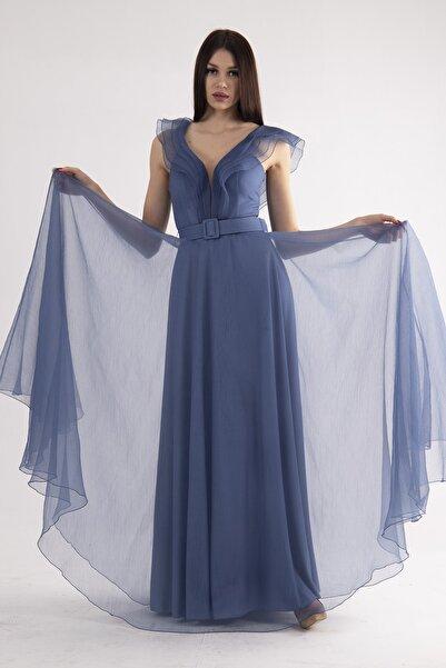 belamore Kadın İndigo Düz Elbise