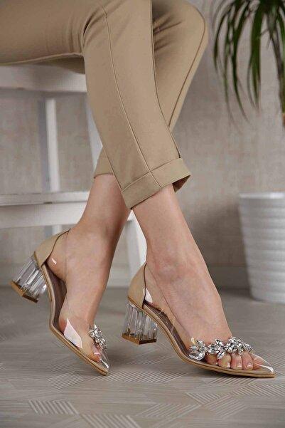 Ccway Kadın Ten Rugan Şeffaf Taşlı Topuklu Ayakkabı