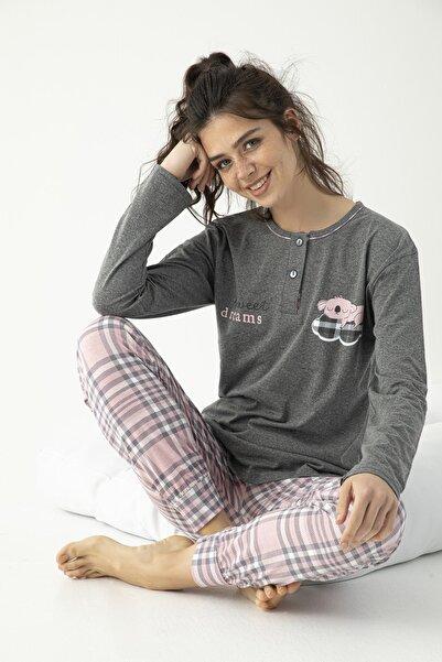 FAWN Kadın Uzun Kollu Baskılı Düğmeli Pijama Takımı Gri-pembe Homewear Ev Kıyafeti 5022