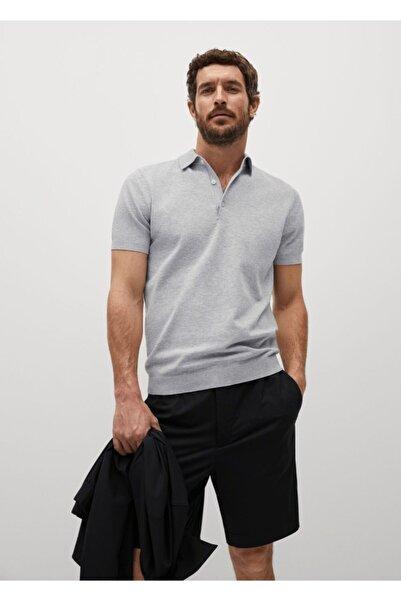 MANGO Man Erkek Gri Triko Koton Polo Tişört