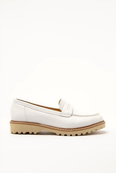 Hotiç Hakiki Deri Beyaz Kadın Loafer Ayakkabı 01AYH205160A900