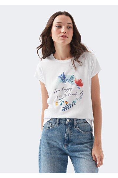 Mavi İstanbul Baskılı Beyaz Tişört