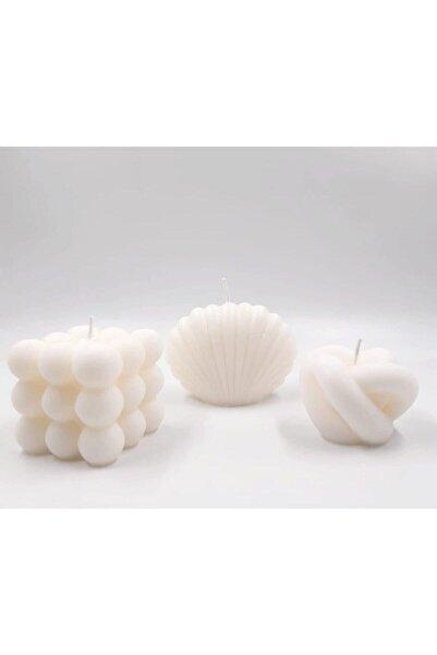 Handmadesign Istiridye Deniz Kabuğu Bubble Baloncuk Düğüm Knot Minimal Mum Seti 3 'lü