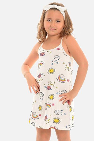 Little Frog Kız Çocuk Ekru Ip Askılı Tunik